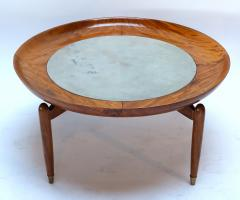 Giuseppe Scapinelli 1960s Scapinelli Brazilian Caviuna and Marble Round Coffee Table - 282659