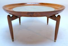 Giuseppe Scapinelli 1960s Scapinelli Brazilian Caviuna and Marble Round Coffee Table - 282661