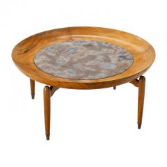 Giuseppe Scapinelli Giuseppe Scapinelli Round Coffee Table in Caviuna and Marble Brazil 1960s - 1004202