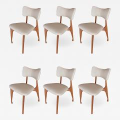 Giuseppe Scapinelli Set of Six Italian Modern Walnut Dining Chairs Guiseppe Scapinelli - 1265088