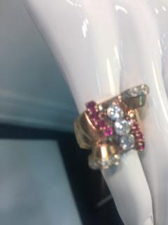 Glamorous 1940s Retro 14 Karat Diamond and Ruby Ring - 541488