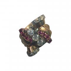 Glamorous 1940s Retro 14 Karat Diamond and Ruby Ring - 542117