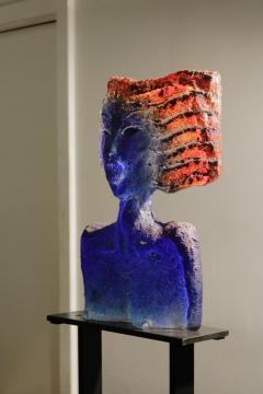 Glass Sculpture of a Woman Bust on a Metal Pedestal - 1210174