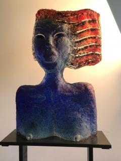 Glass Sculpture of a Woman Bust on a Metal Pedestal - 1210175