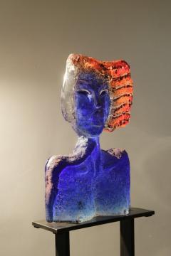 Glass Sculpture of a Woman Bust on a Metal Pedestal - 1210176