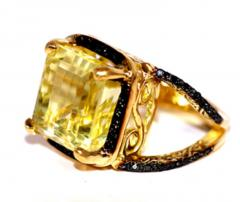 Glenn Bradford Fine Jewelry 4 Prong Citrine Pave Split Shank Cocktail Ring - 1094764