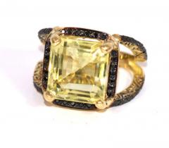 Glenn Bradford Fine Jewelry 4 Prong Citrine Pave Split Shank Cocktail Ring - 1094765