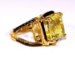 Glenn Bradford Fine Jewelry 4 Prong Citrine Pave Split Shank Cocktail Ring - 1094767