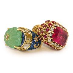 Glenn Bradford Fine Jewelry Heaven Earth Emerald Cocktail Ring - 1094543
