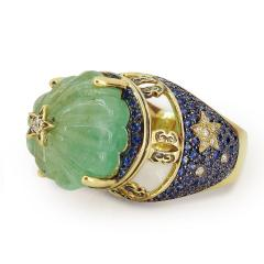 Glenn Bradford Fine Jewelry Heaven Earth Emerald Cocktail Ring - 1094545