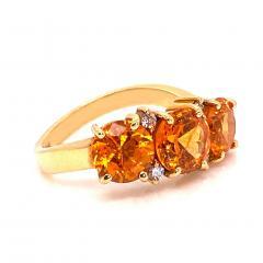 Glittering Gemjunky Spessartite Garnet with diamond 18K gold ring - 1631531