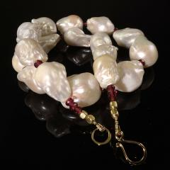 Glowing White Baroque Pearls accented with faceted Rhodolite Garnets Necklace - 1714898