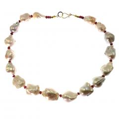 Glowing White Baroque Pearls accented with faceted Rhodolite Garnets Necklace - 1714900