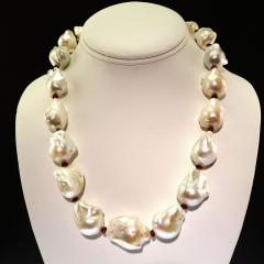 Glowing White Baroque Pearls accented with faceted Rhodolite Garnets Necklace - 1714908