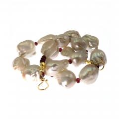 Glowing White Baroque Pearls accented with faceted Rhodolite Garnets Necklace - 1717993