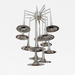 Goffredo Reggiani Large Vintage Chrome Trumpet Chandelier by Reggiani Italy - 657639
