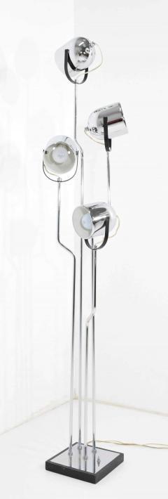 Goffredo Reggiani Reggiani 4 Head Chrome and Black Floor Lamp - 1274982