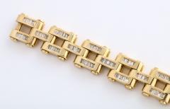 Gold And Baguette Diamond Link Tank Bracelet - 1830950
