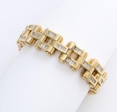 Gold And Baguette Diamond Link Tank Bracelet - 1830951