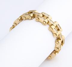 Gold And Baguette Diamond Link Tank Bracelet - 1830954