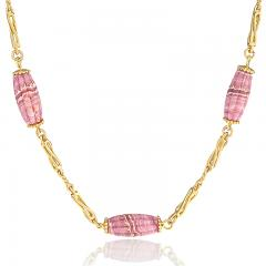 Gold Chain with Rhodochrosite Barrel Beads - 1170470