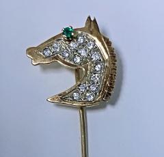 Gold Diamond Emerald Horses head Stickpin 20th century  - 2071272