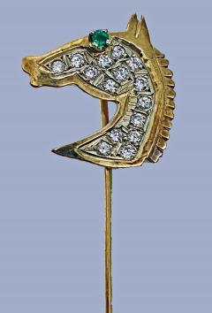Gold Diamond Emerald Horses head Stickpin 20th century  - 2071274