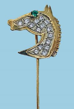 Gold Diamond Emerald Horses head Stickpin 20th century  - 2071275