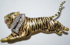 Gold Diamond and Enamel Tiger Brooch - 327005