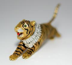 Gold Diamond and Enamel Tiger Brooch - 327006