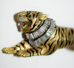 Gold Diamond and Enamel Tiger Brooch - 327008