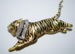 Gold Diamond and Enamel Tiger Brooch - 327009