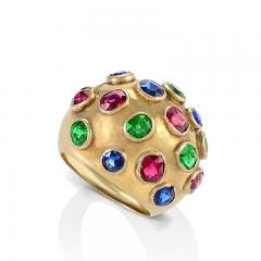 Gold Domed Ring with Sapphires Rubies and Emeralds - 1304239