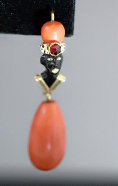 Gold Enamel and Coral Blackamoor Earrings - 339590