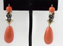 Gold Enamel and Coral Blackamoor Earrings - 339591
