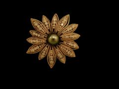 Gold Floral Pin with Pearl and Diamonds - 268061