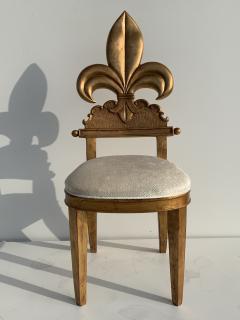 Gold Leaf Fleur de Lis Vanity Chair - 1152824