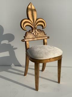 Gold Leaf Fleur de Lis Vanity Chair - 1152825