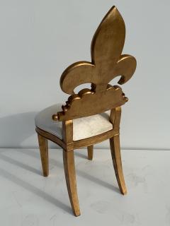 Gold Leaf Fleur de Lis Vanity Chair - 1152827