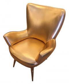 Gold Leather Italian Mid Century Armchair - 840577