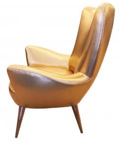 Gold Leather Italian Mid Century Armchair - 840578