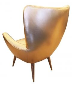 Gold Leather Italian Mid Century Armchair - 840579