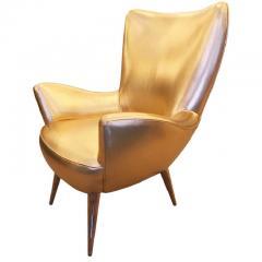 Gold Leather Italian Mid Century Armchair - 840580