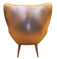 Gold Leather Italian Mid Century Armchair - 840581