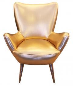 Gold Leather Italian Mid Century Armchair - 840582