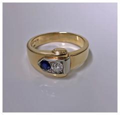 Gold Sapphire and Diamond Ring 20th century - 1166276