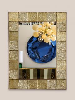 Gold Sculptural Murano Glass and Brass Rectangular Mirror Pair Available Italy - 1998515