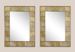 Gold Sculptural Murano Glass and Brass Rectangular Mirror Pair Available Italy - 1998516