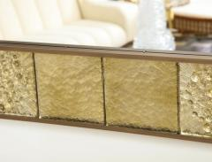 Gold Sculptural Murano Glass and Brass Rectangular Mirror Pair Available Italy - 1998518