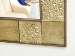Gold Sculptural Murano Glass and Brass Rectangular Mirror Pair Available Italy - 1998519